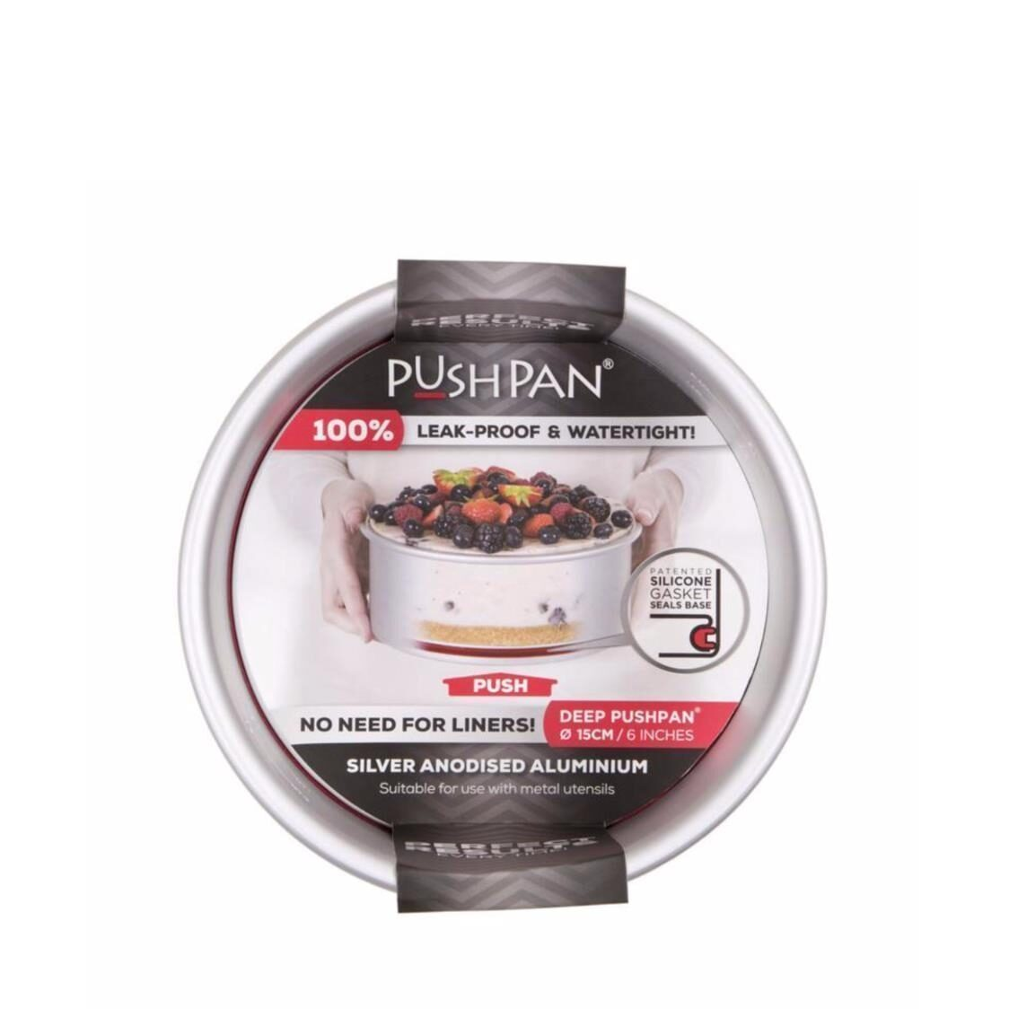 Pushpan Anodised aluminium Pushpan  Deep Round Tin 6 15cm