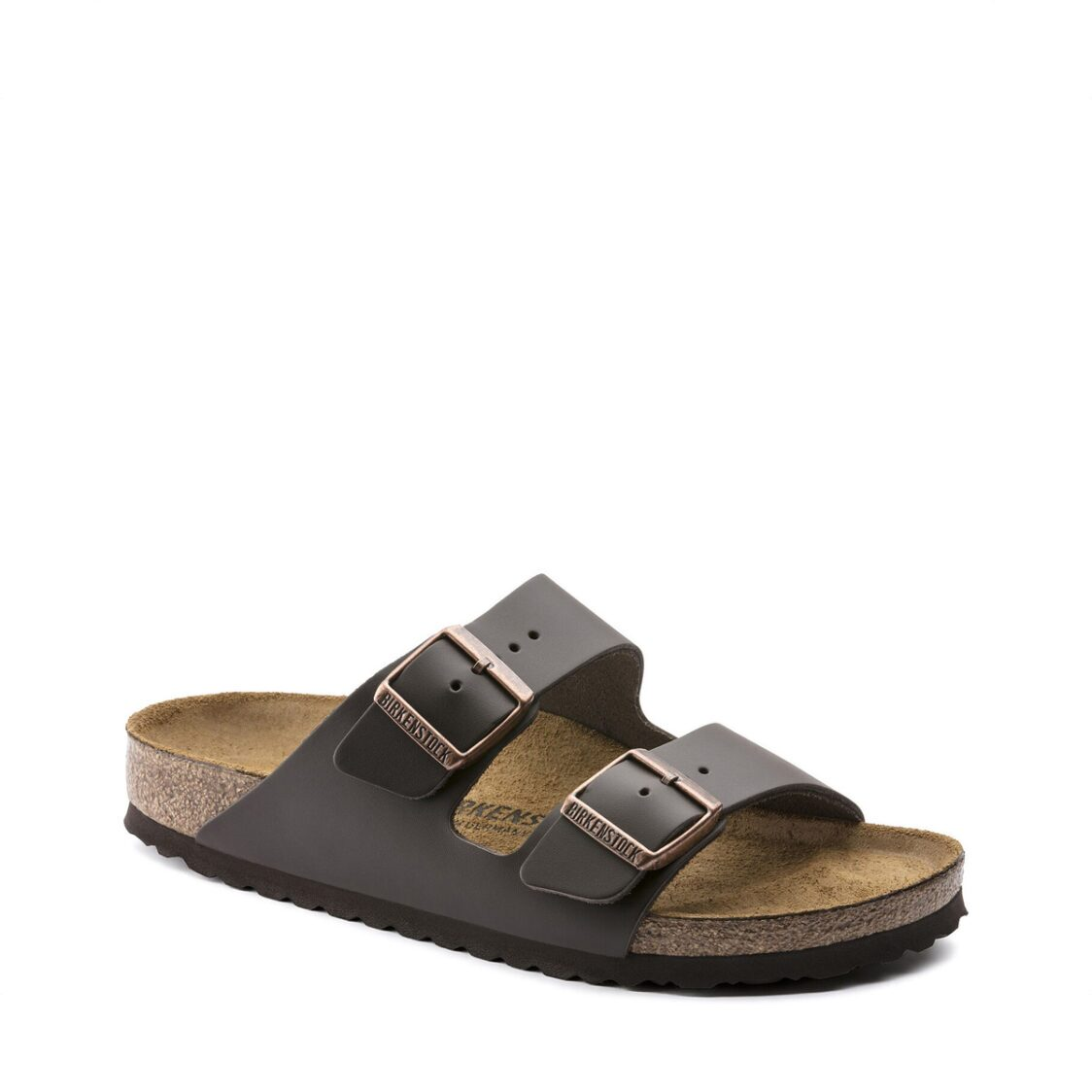 Birkenstock Arizona Natural Leather Unisex Regular Width Sandals Dark Brown