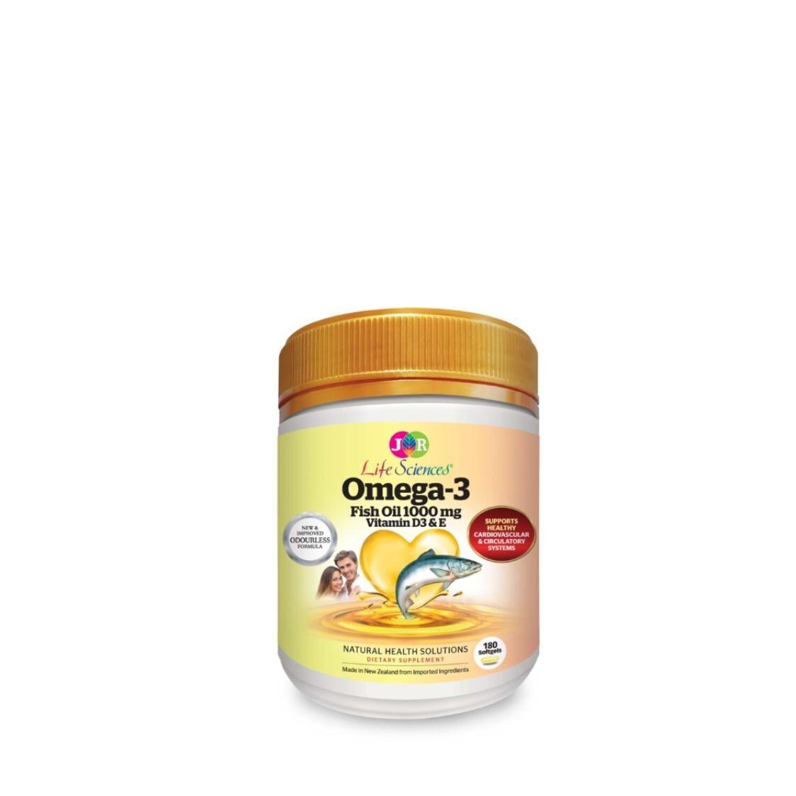 JR Life Sciences Omega-3 Fish Oil 1000mg 180 Softgels
