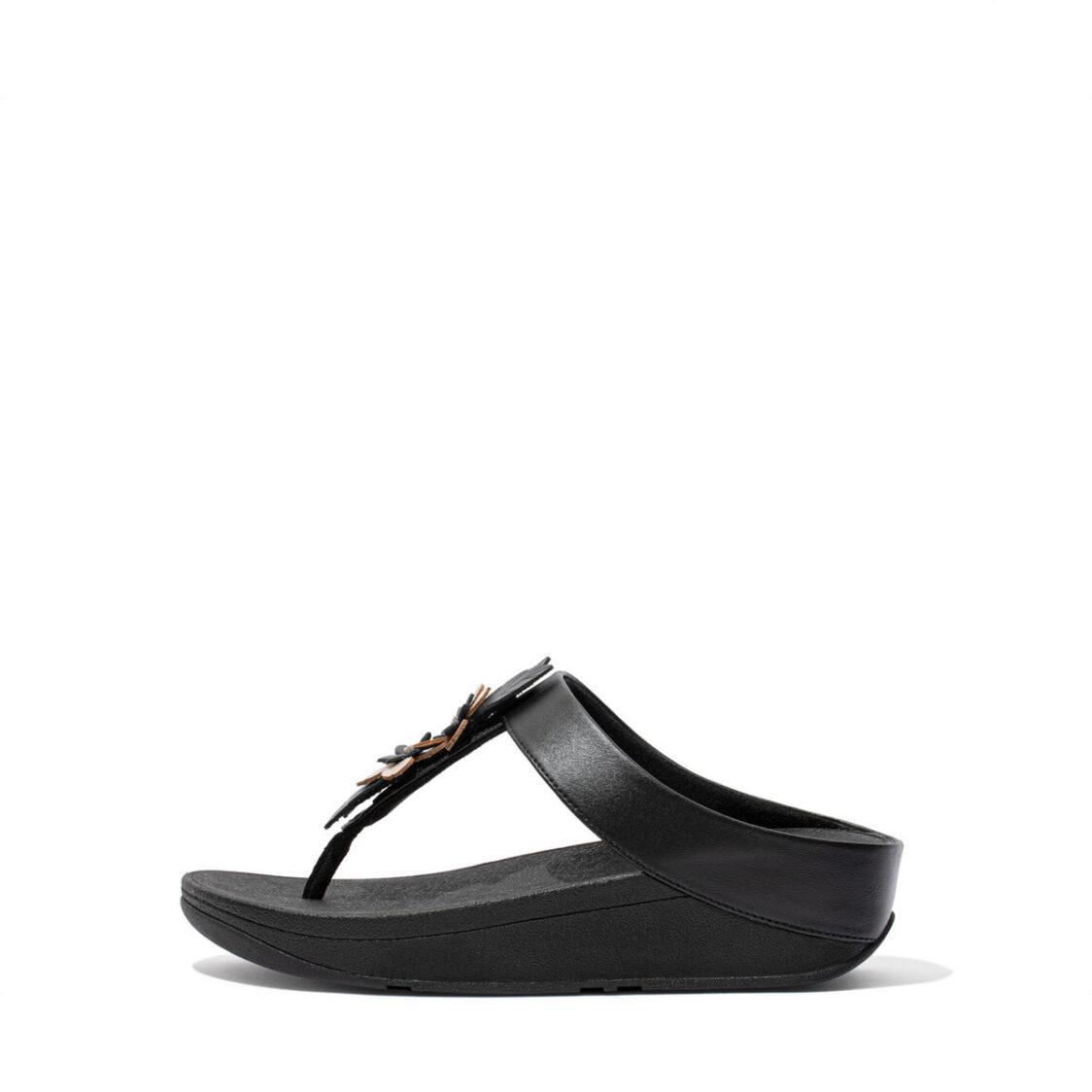 Fitflop Fino Floral Toe-Post Sandals Black Dz6-001