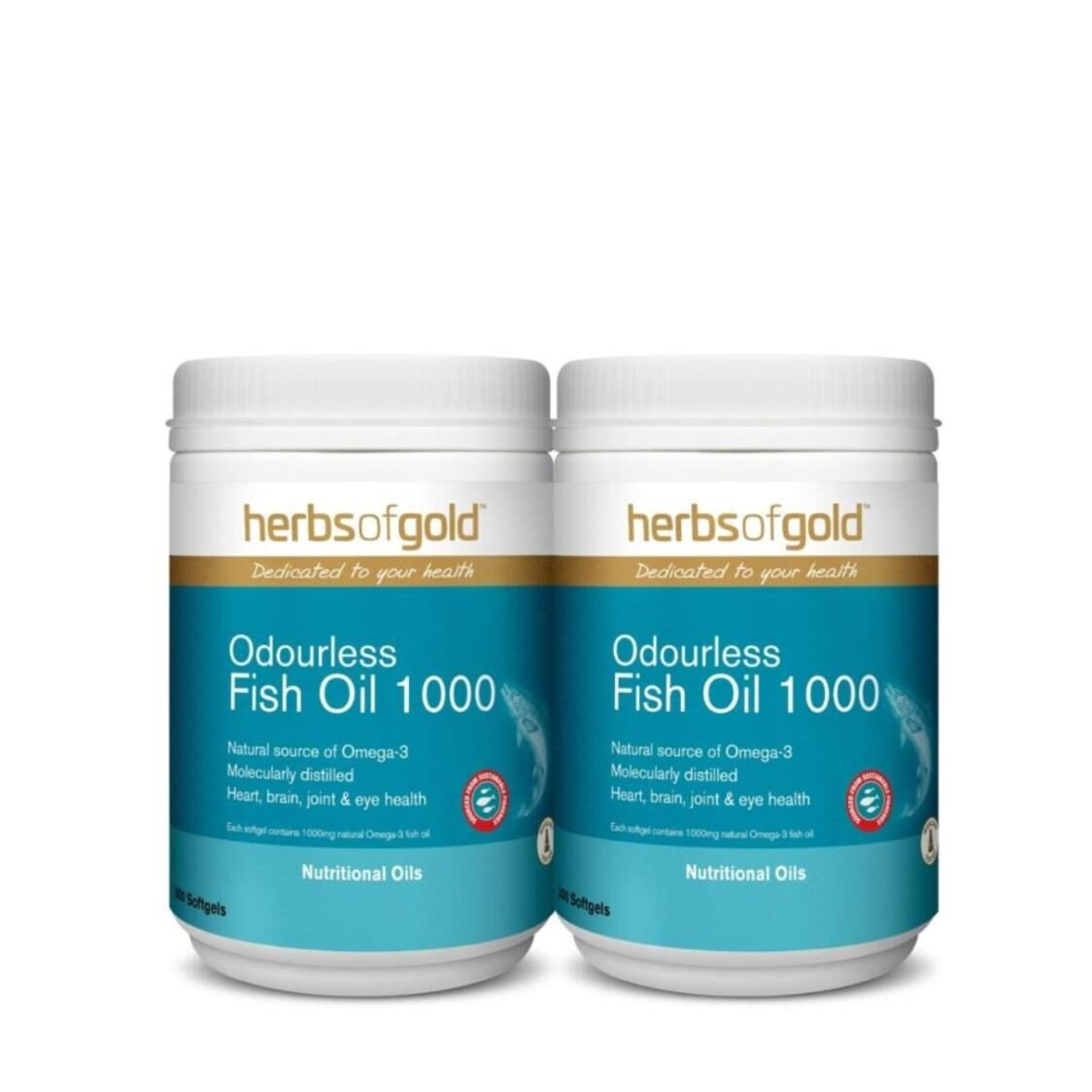 Herbs of Gold Odourless Omega-3 TG Fish Oil 2x300s