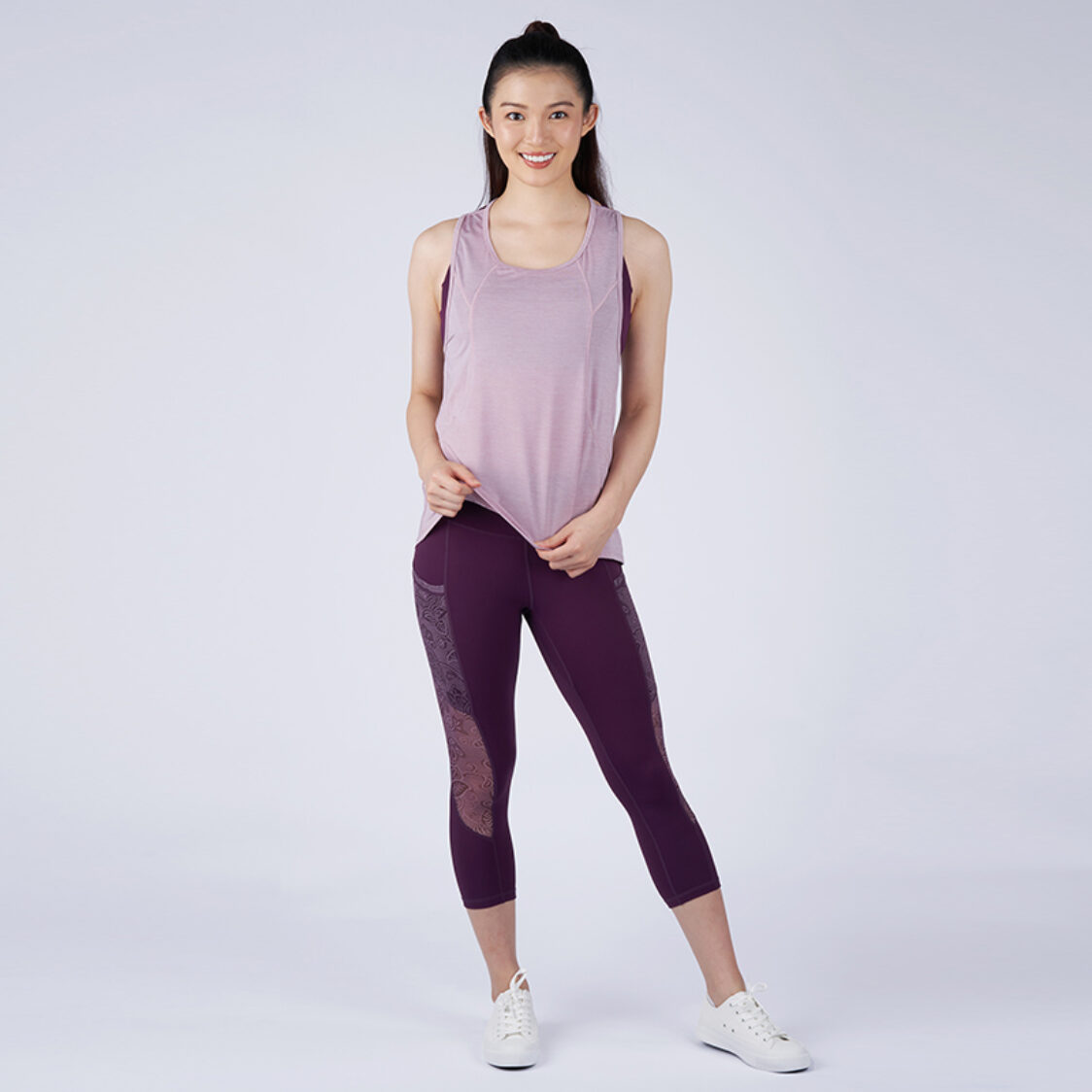 Yumi Active Airy Escape Tunic Tank Heather Pink
