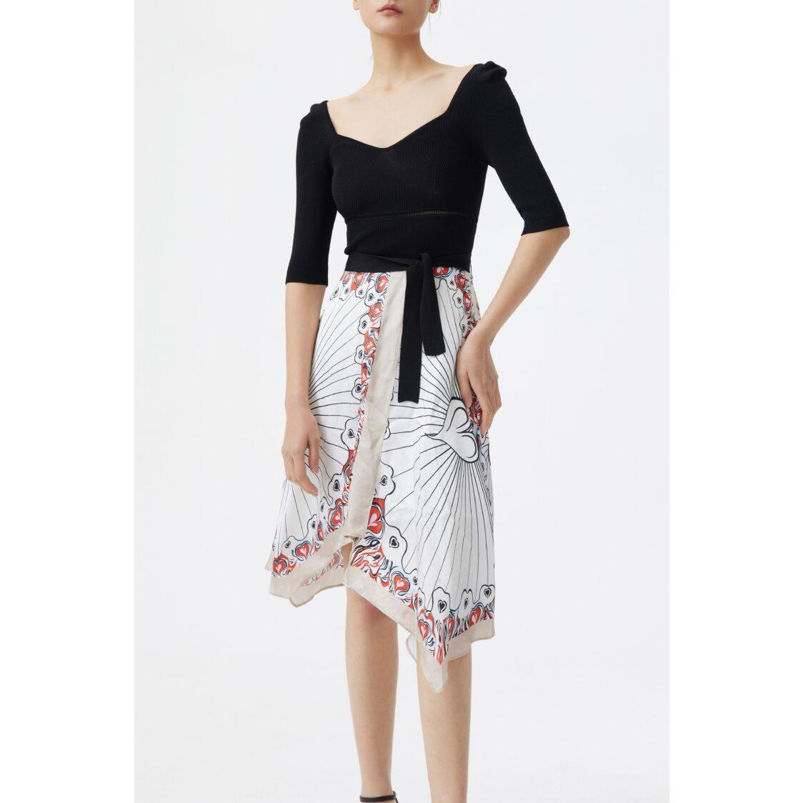 Lily Irregular Patchwork Dress Black