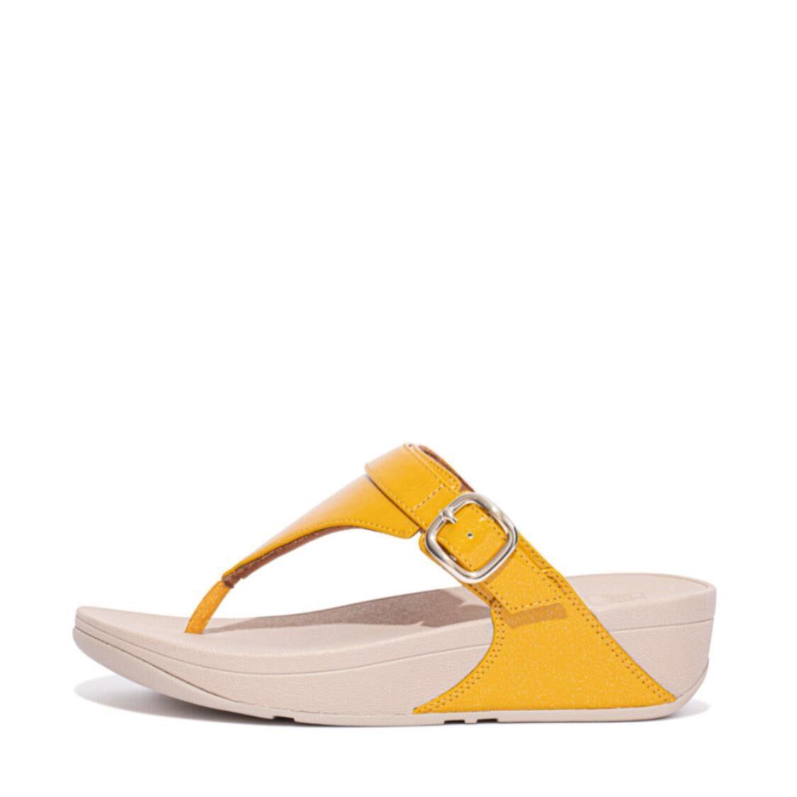 Fitflop Lulu Glitter Adjustable Toe-post Sandals Honey Yellow EC9-891