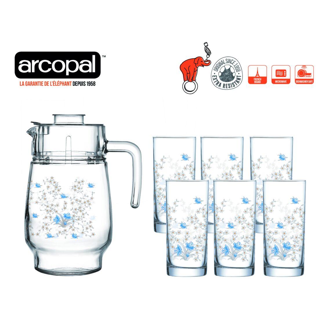 Arcopal Romantique 7pc Water Set N3217
