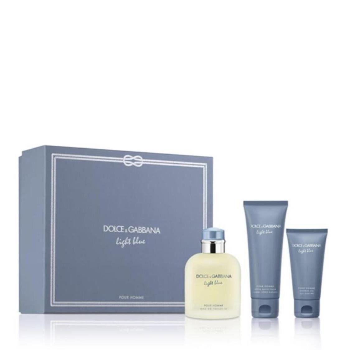 Dolce  Gabbana Light Blue Pour Homme EDT 125ml Trio Gift Set