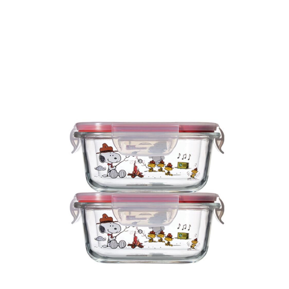 Pyrex 4pc 510ml Square Storage Snoopy Colorful