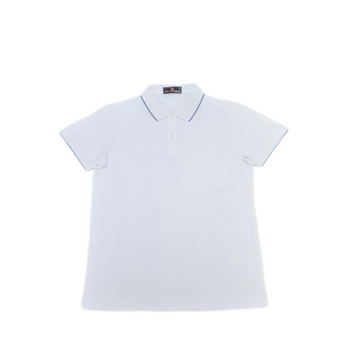 John Langford Polo T-Shirt with Pocket White