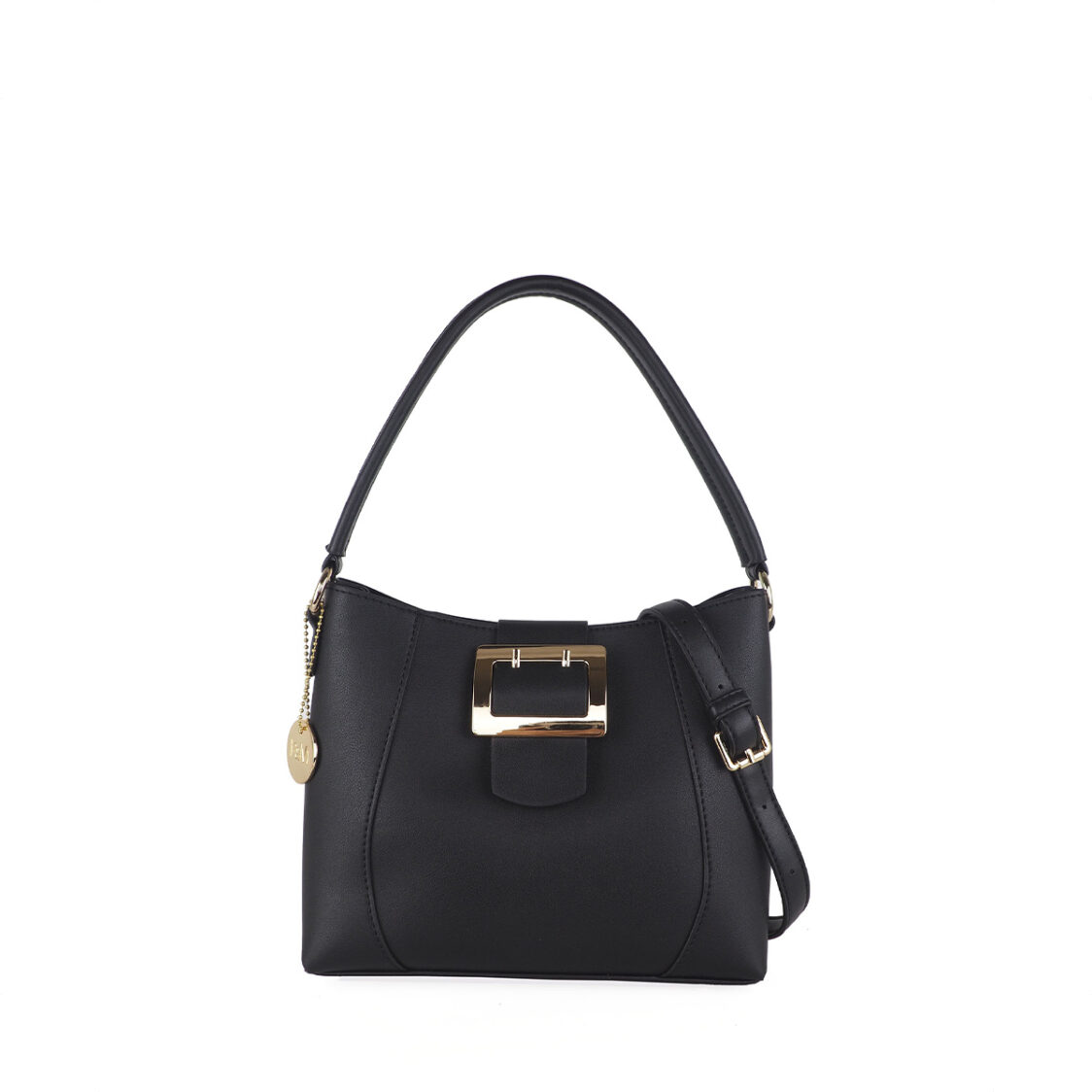 Perllini  Mel Buckle Accent Bag With Sling Strap Black