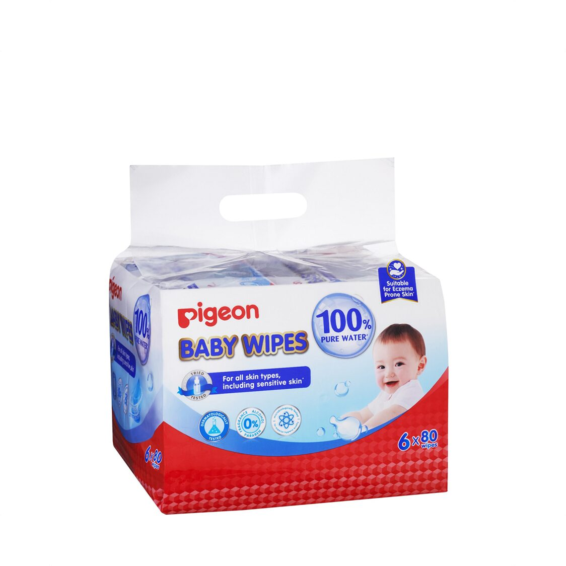 Pigeon Baby Wipes 80 Sheets 100 Pure Water 6 In 1