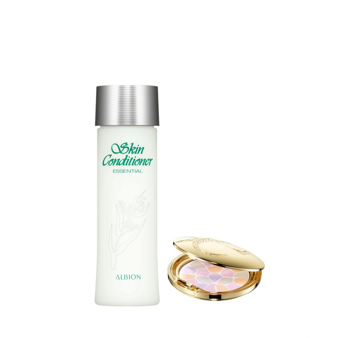 ALBION Elgance Pressed Powder 88g  Skin Conditioner Essential 330ml Set