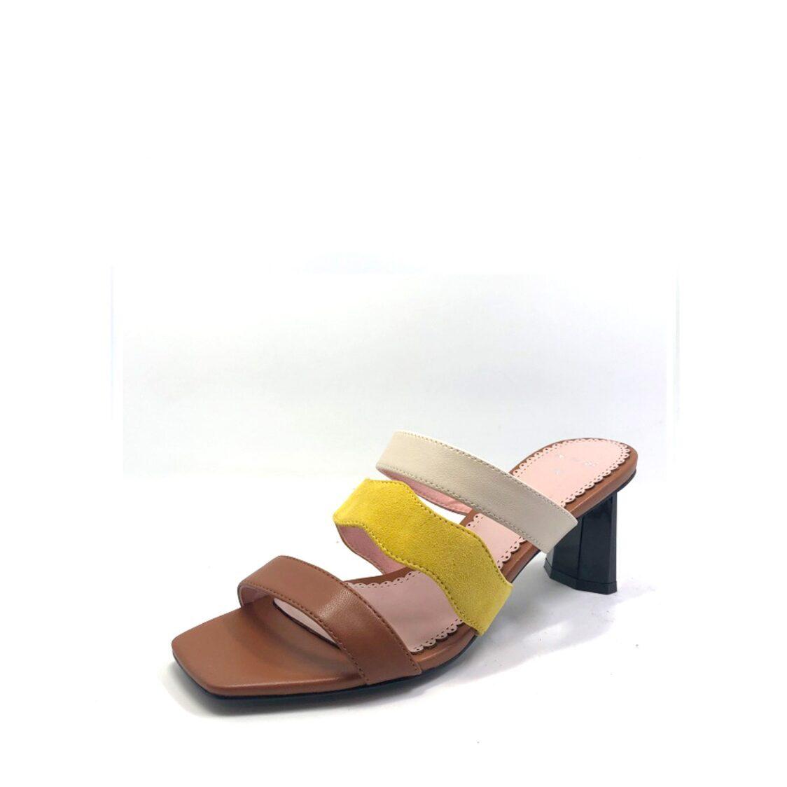 Martina Pink Colorblock High Heel Slip-On Tan