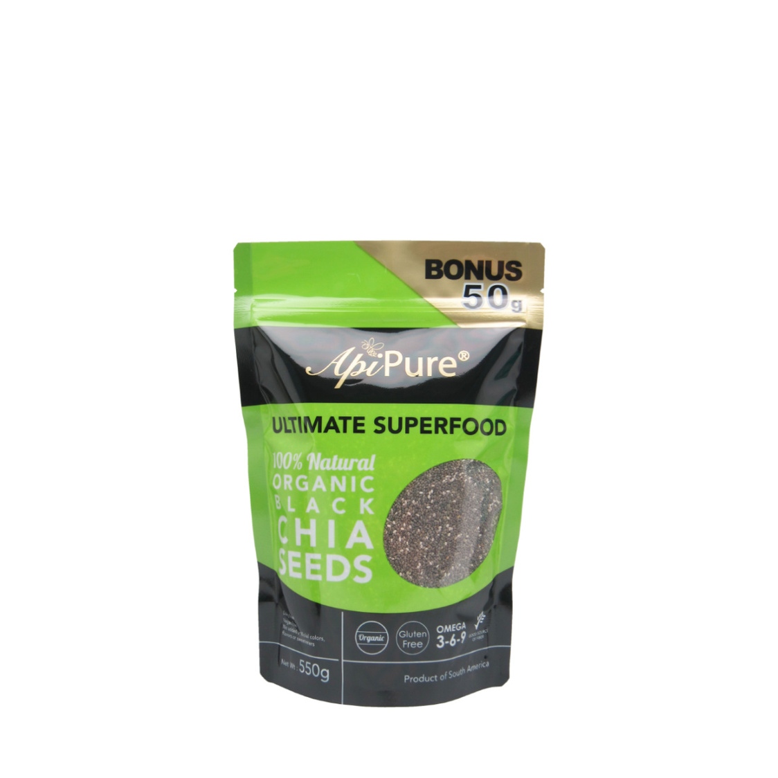Apipure Organic Black Chia Seeds 550g