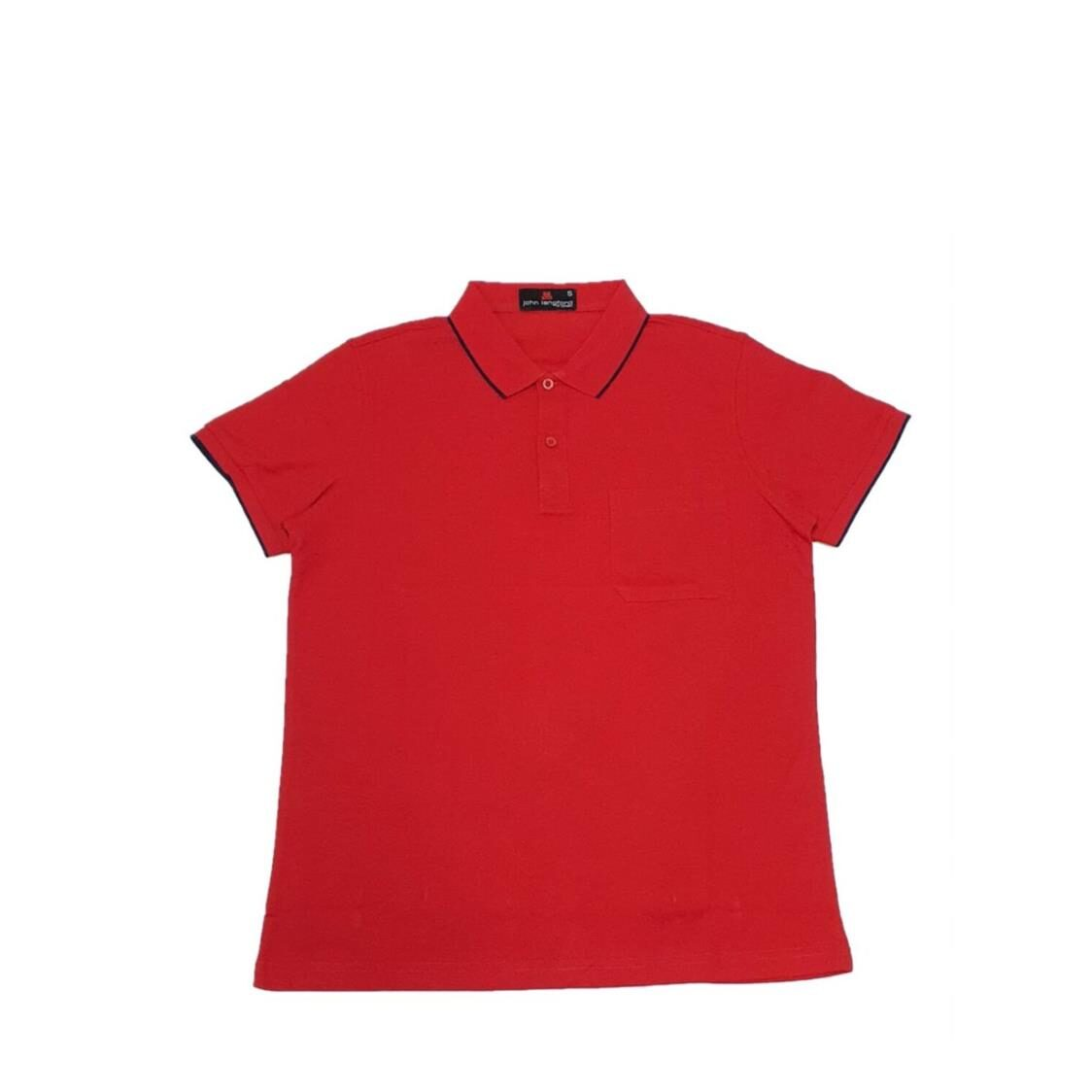 John Langford Polo T-Shirt with Pocket Red