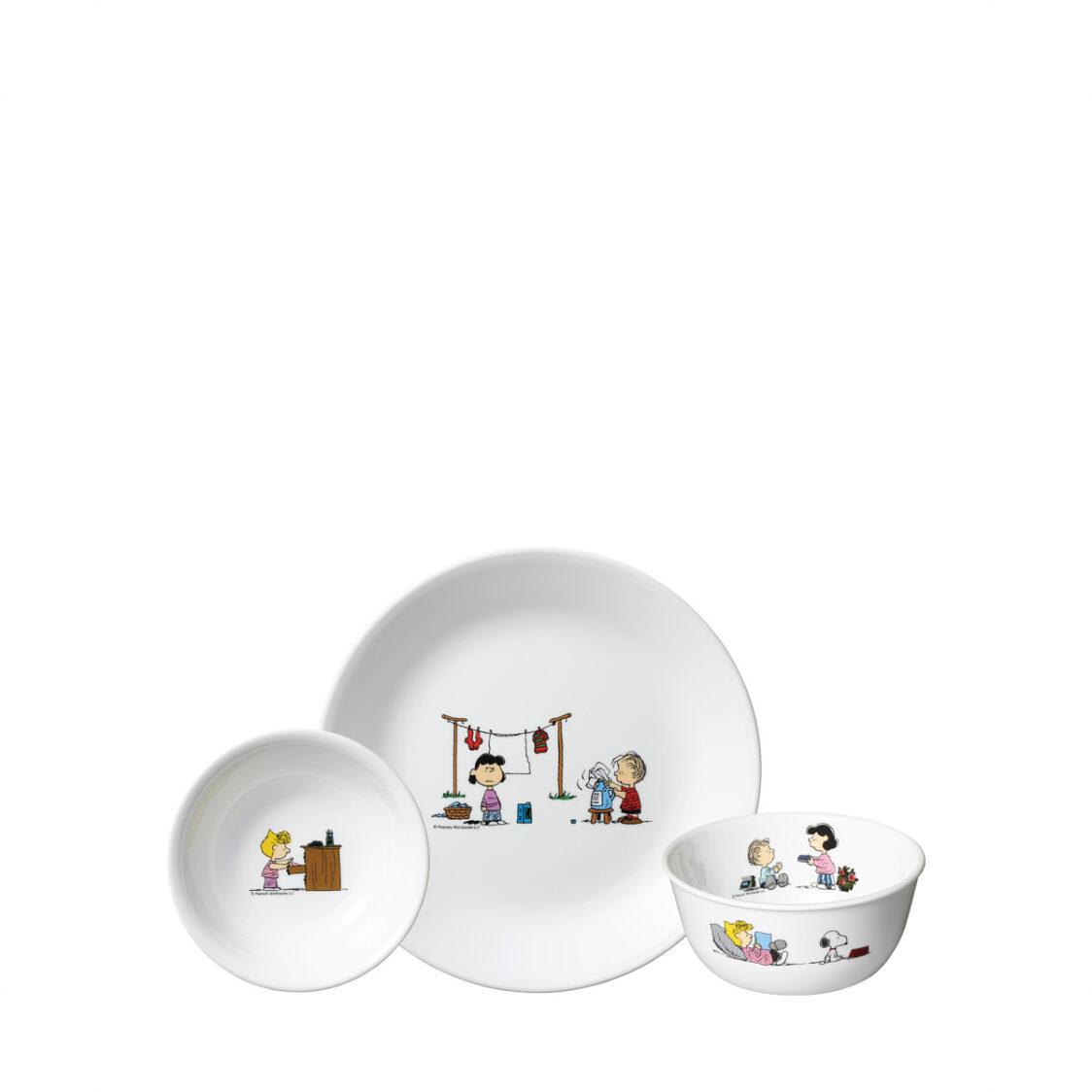 Corelle 3pc Set C 22cm Luncheon Plate 900ml Noodle Bowl  290ml Dessert Bowl Design Snoopy Colourful