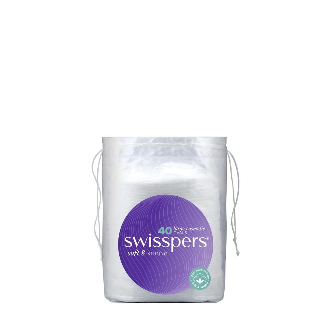 Swisspers Cotton Makeup Pads Large Cosmetic Ovals 40 Sheets
