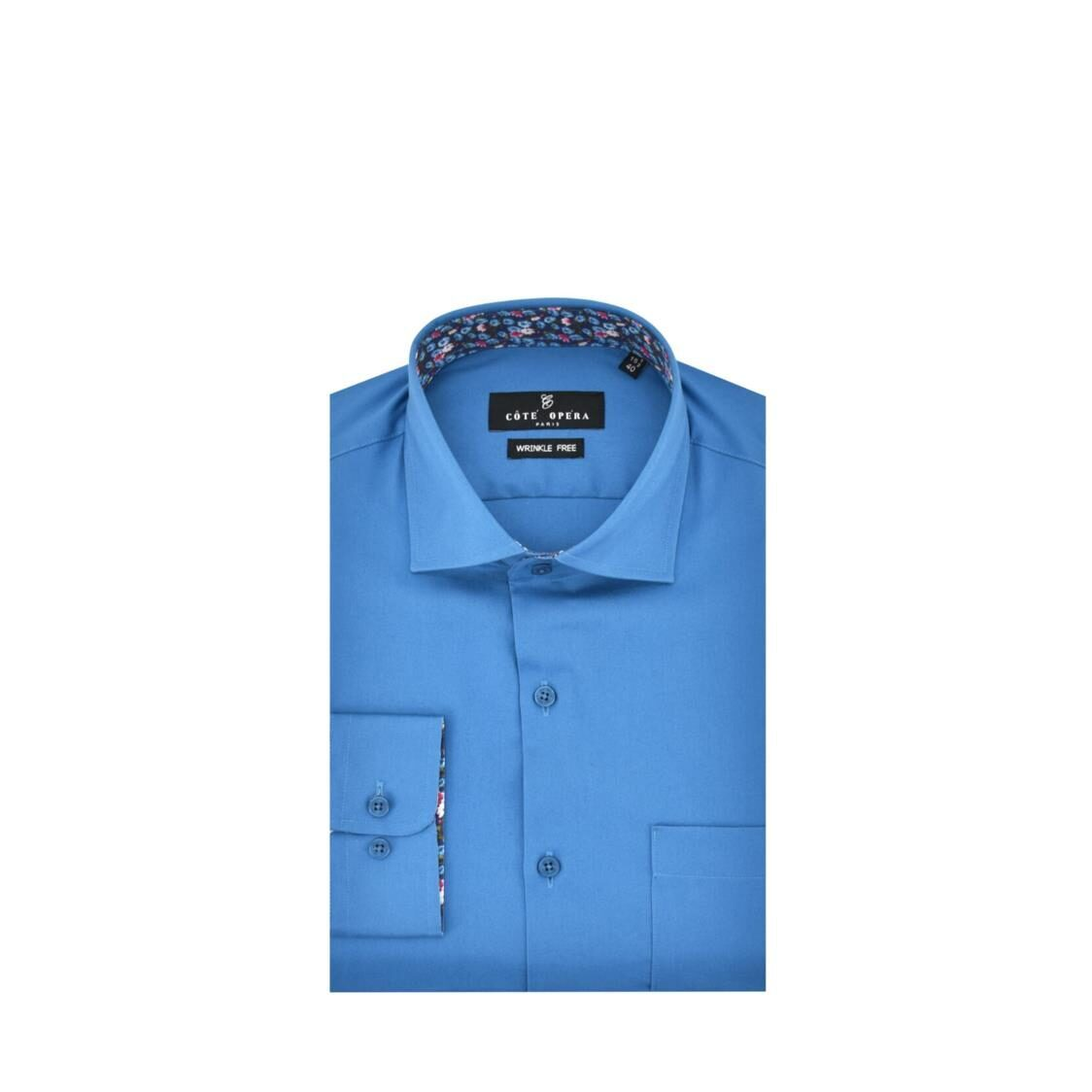 Cote Opera Long-Sleeved Shirt with Wrinkle-Free  Moist Cured finish - Navy