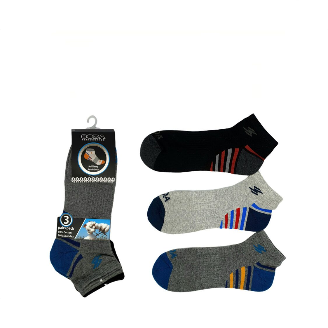 Soda 3 pc Pack Half Terry Ankle Casual Socks