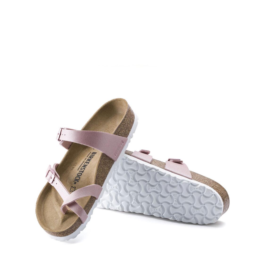 Birkenstock Mayari Birko-Flor Womens Regular Width Sandals Icy Metallic Old Rose