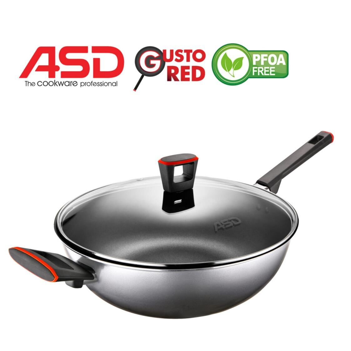 ASD Gusto Red 32cm Non-stick Skillet Wok With Glass Lid