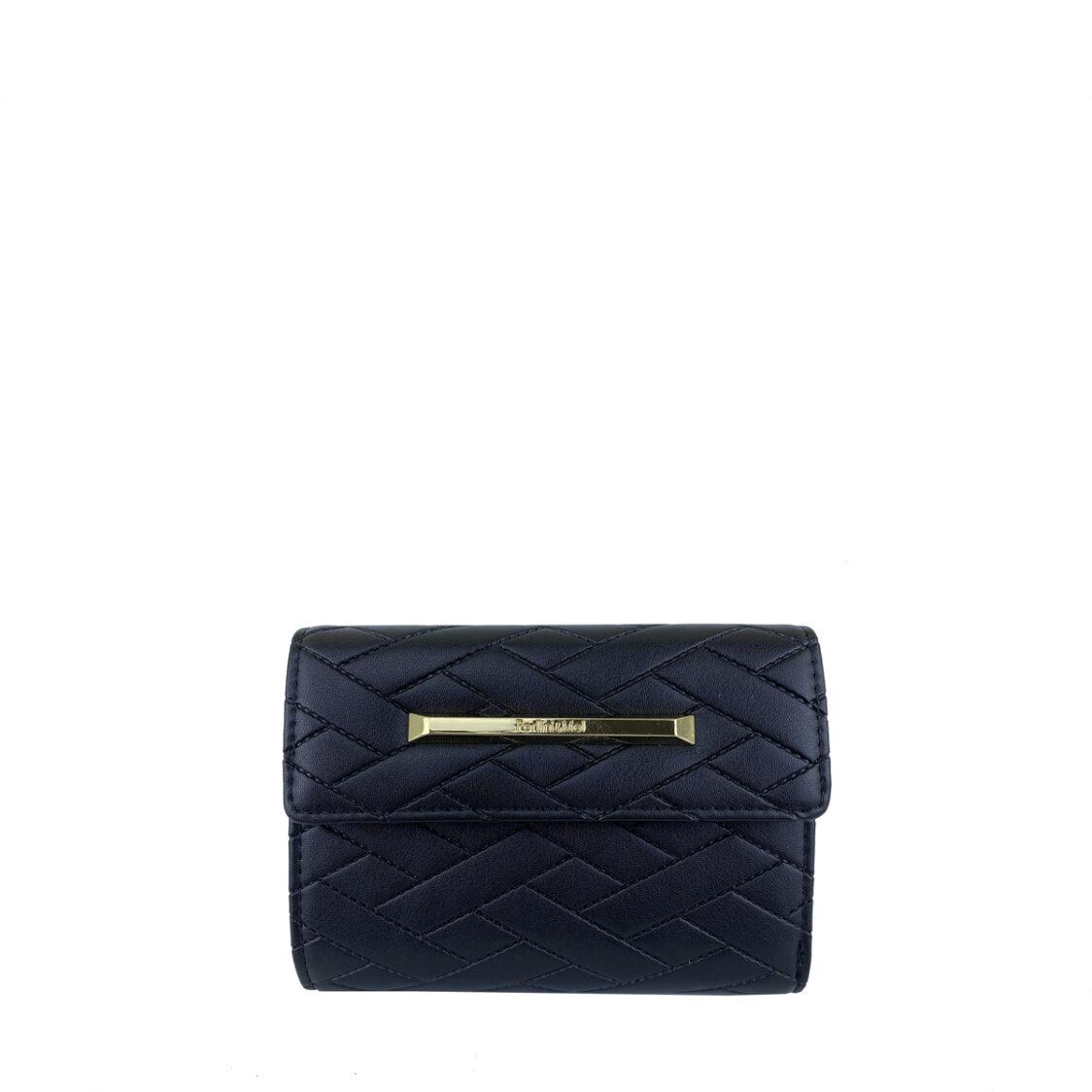 PerlliniMel Weave Embossed Mid Size Wallet X Black