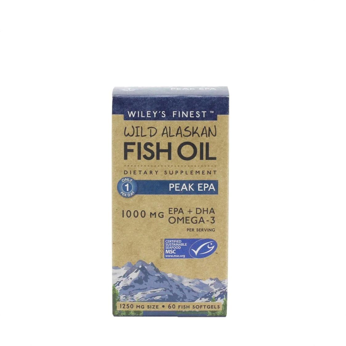 WileyS Finest Wild Alaskan Fish Oil Peak EPA 60 soft gels