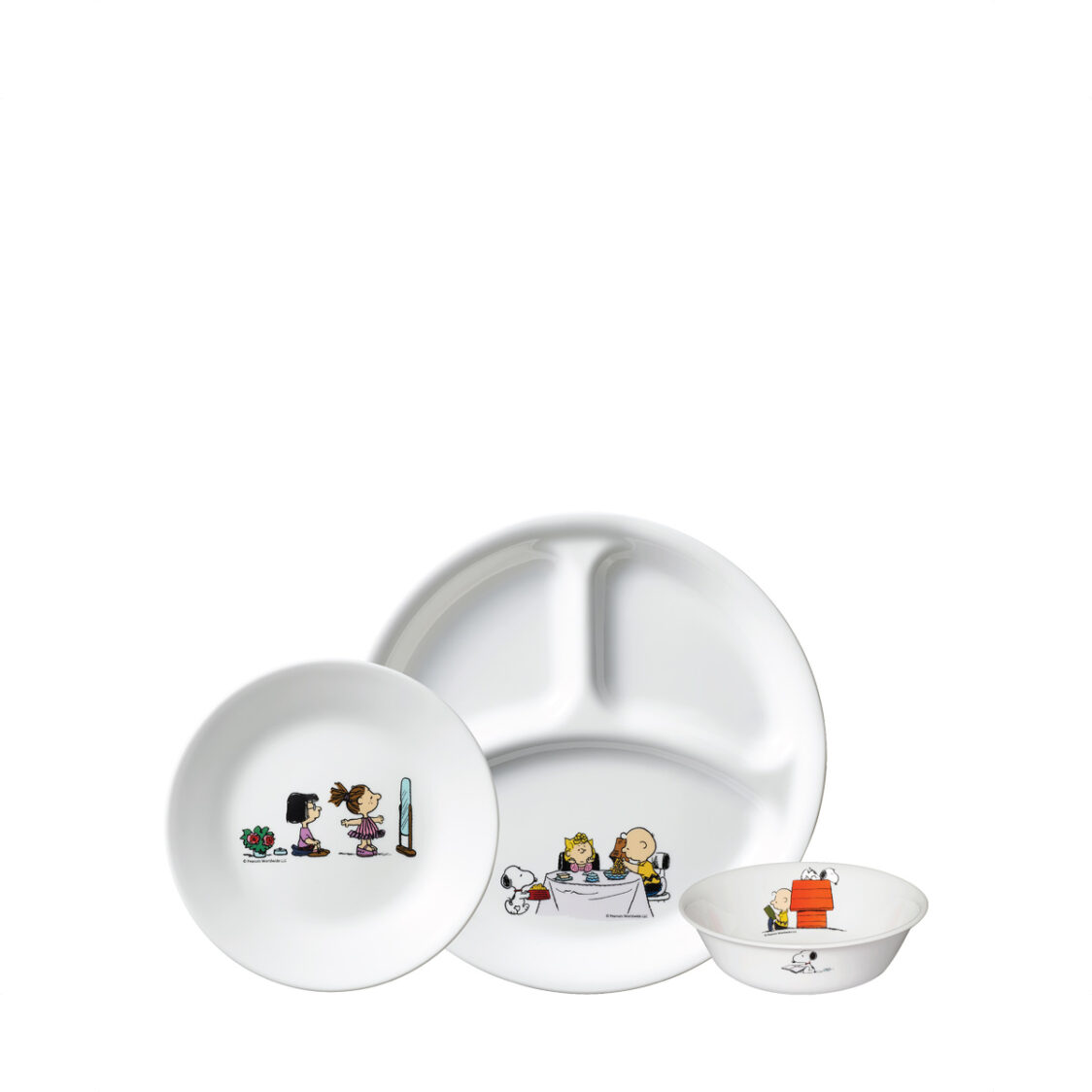 Corelle 3pc Set A Bread  Butter Plate 26cm Divided Plate  500ml Cereal Bowl Design Snoopy Colourful