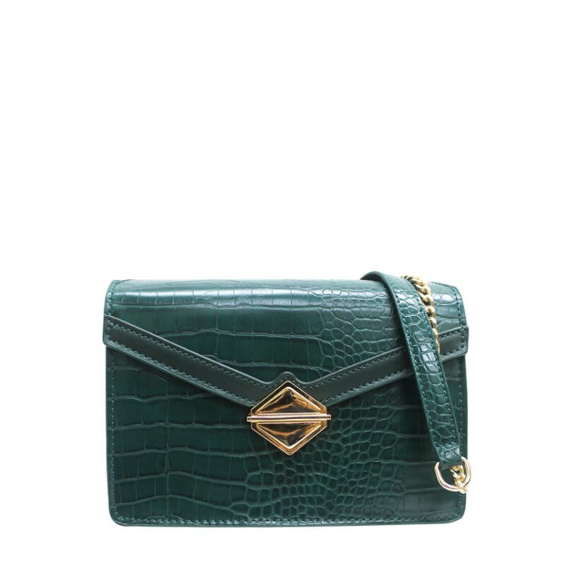 Sembonia Croc-Embossed Messenger Bag Emerald 63174-001-16