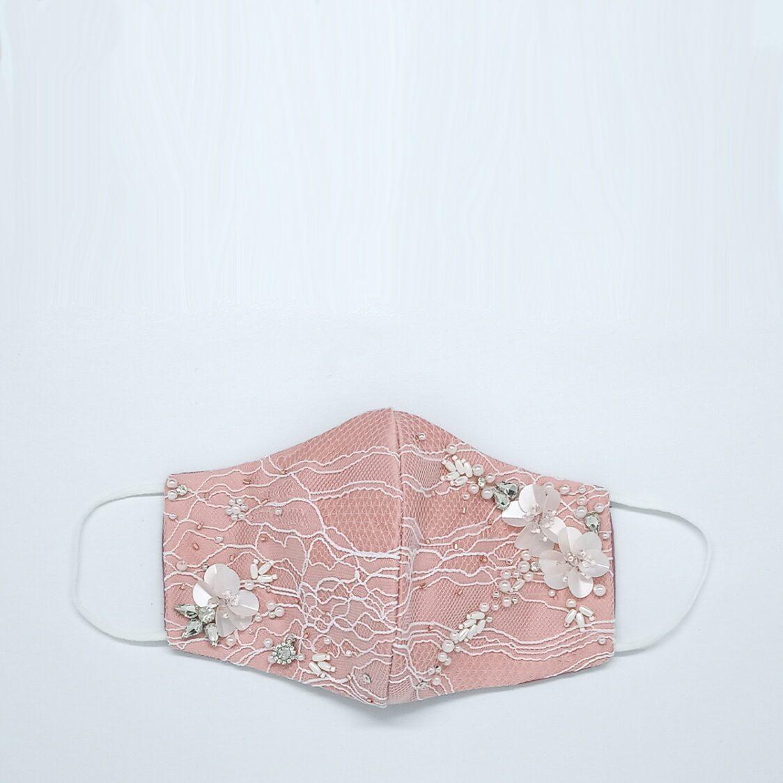 Gayatri Mask - Lace Beads Pink