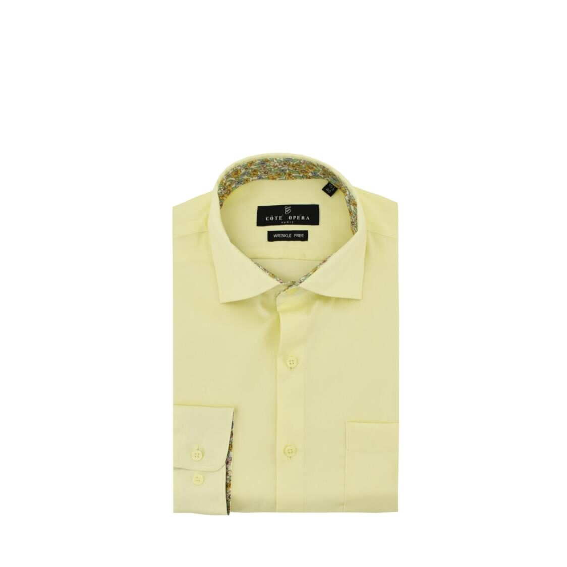 Cote Opera Long-Sleeved Shirt with Wrinkle-Free  Moist Cured finish - Yellow