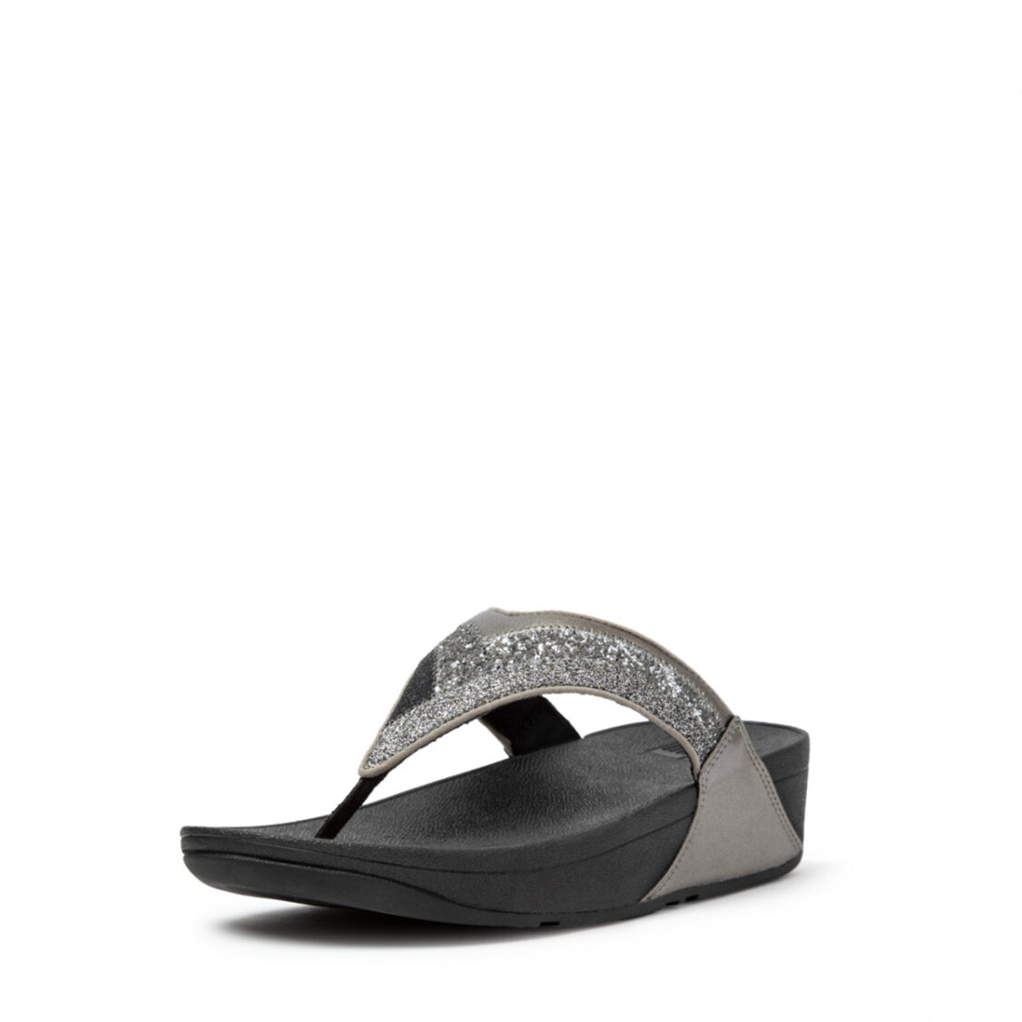 Fitflop Lulu Ombre Glitter Toe-Post Sandals Pewter Grey Dl2-861