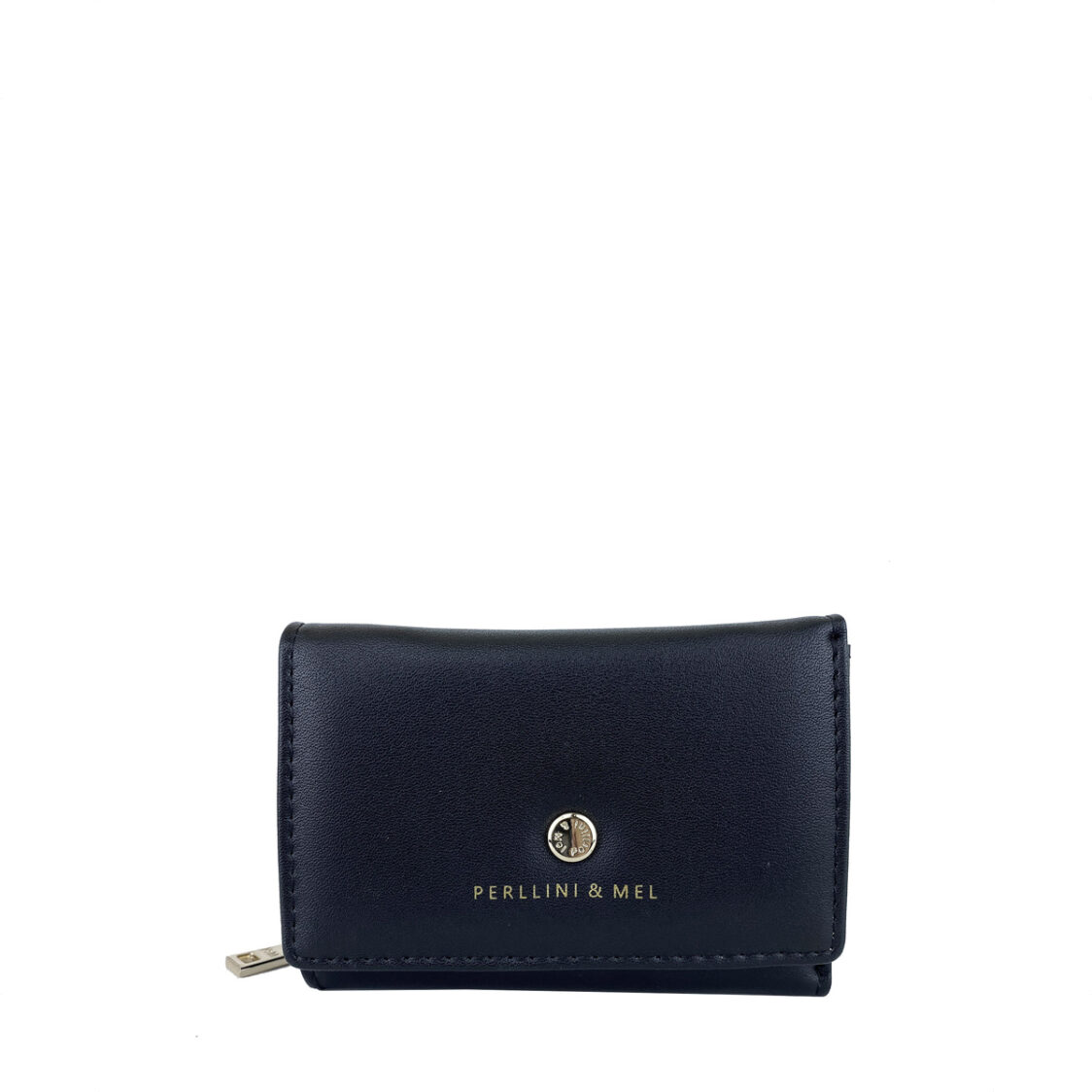PerlliniMel Box Calf Leatherette Card Holder Wallet F Black