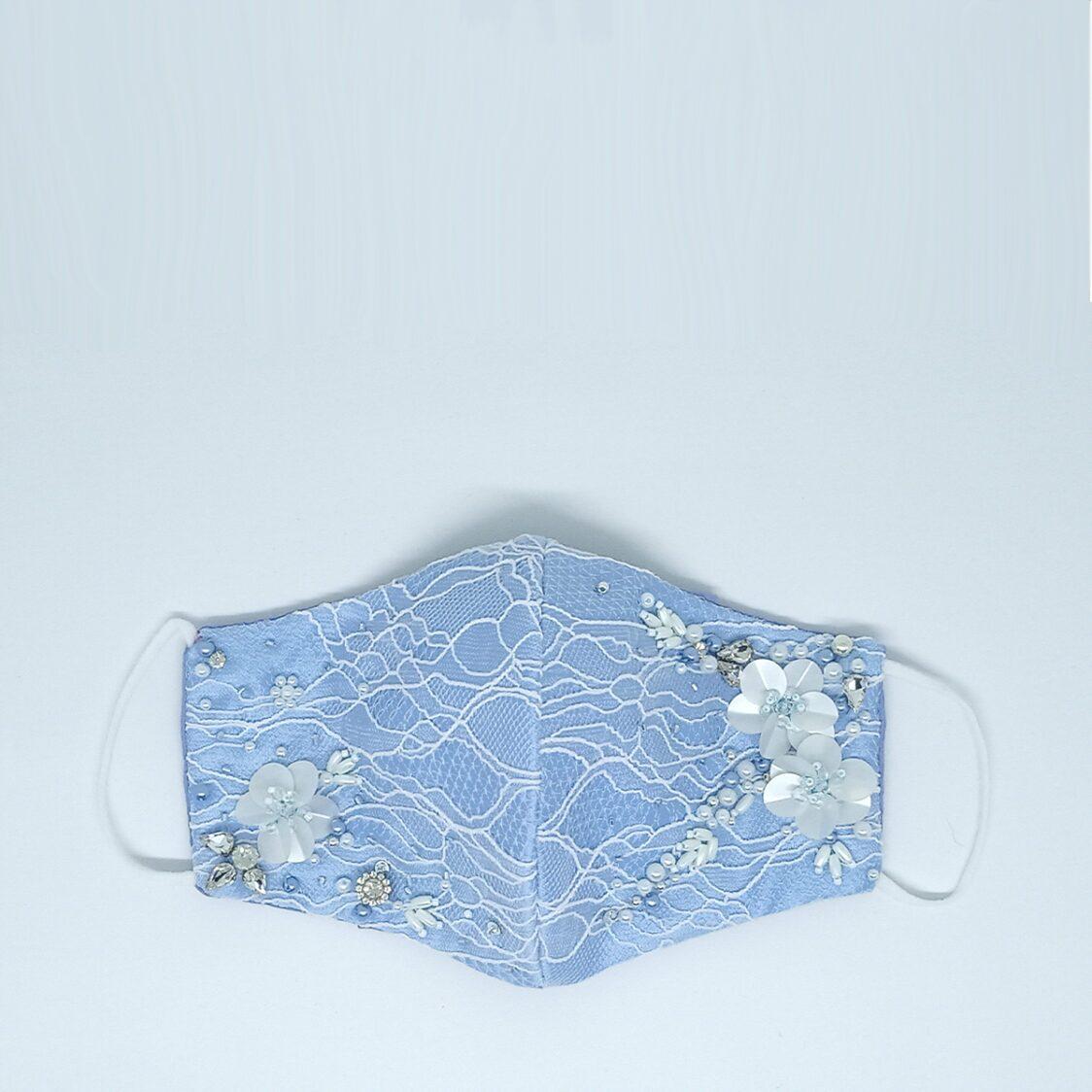 Gayatri Mask - Lace Beads Blue