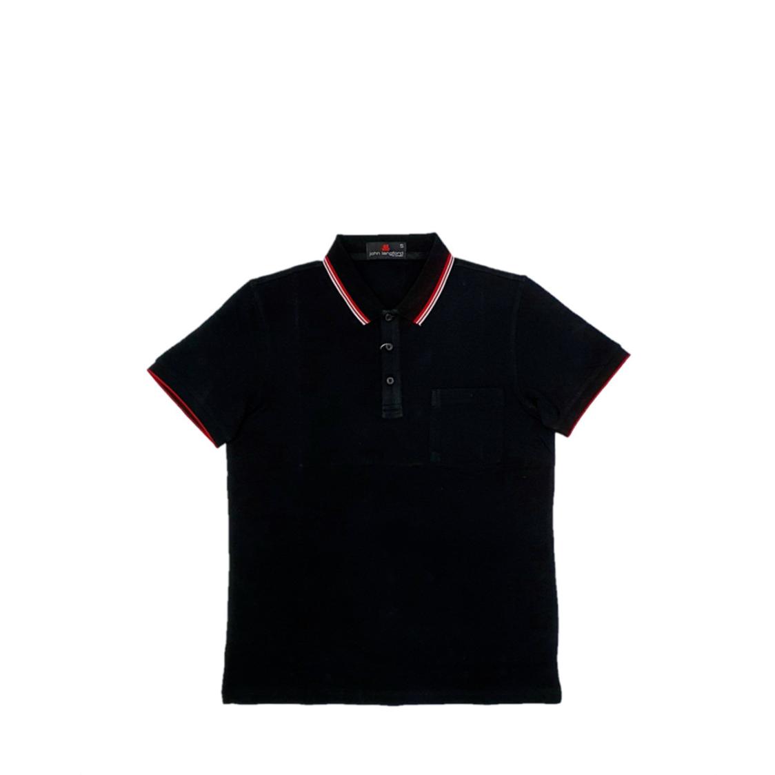 John Langford Pique Polo T-Shirt with Pocket Black
