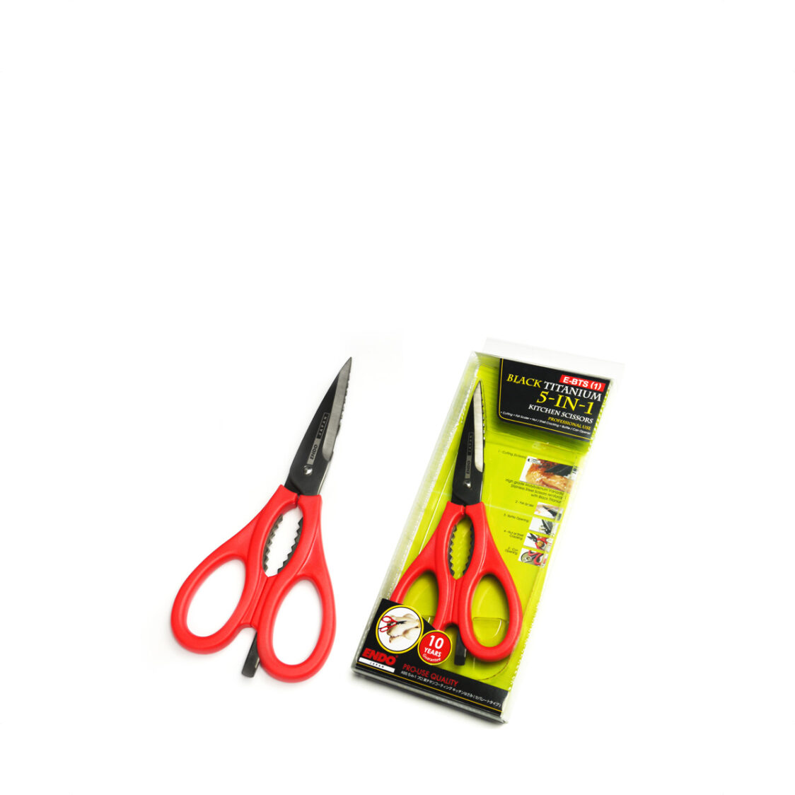 Endo Black Titanium 5-In-1 Professional Kitchen Scissors E-BTS1