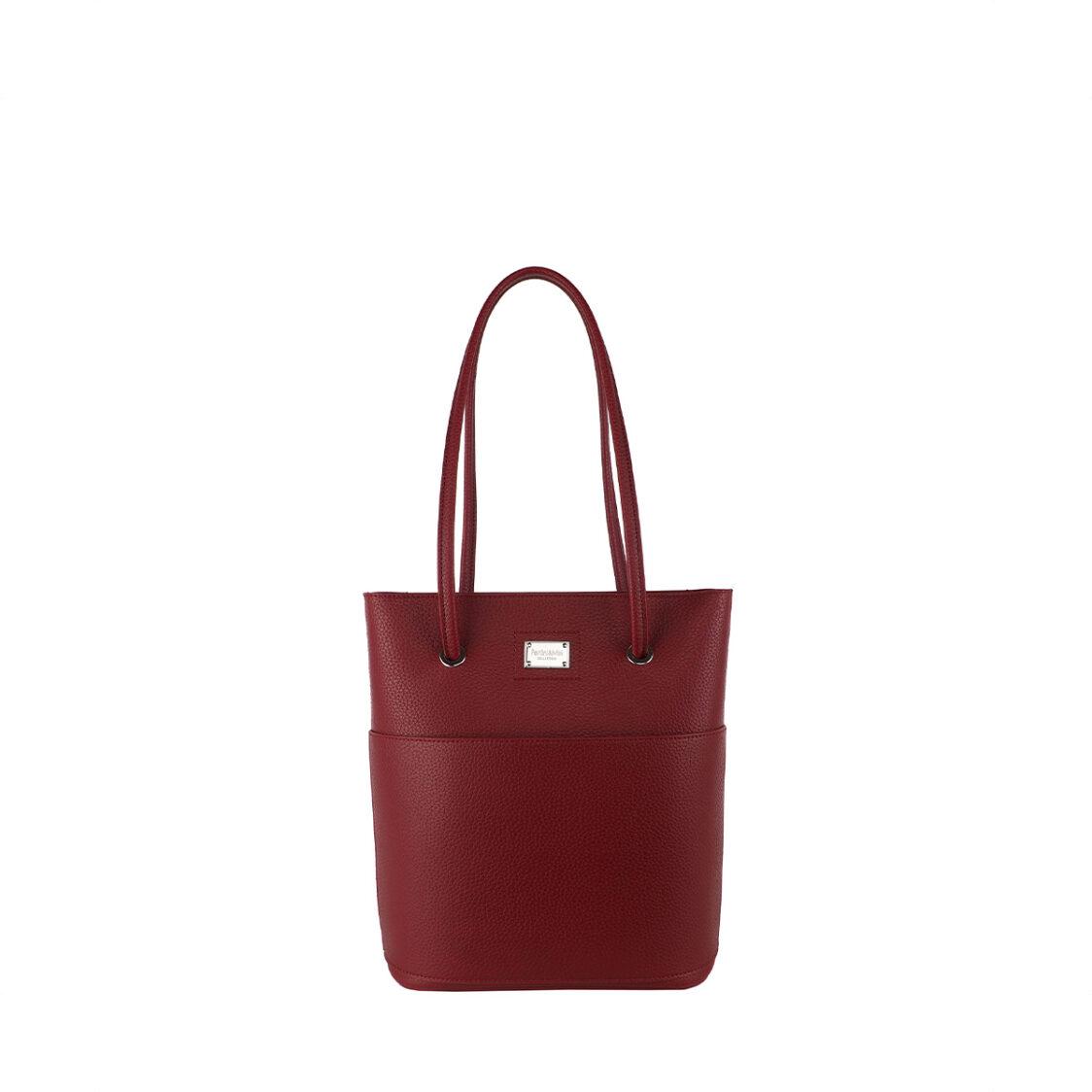 Perllini  Mel Double Handle Shoulder Bag With Front Pocket Red
