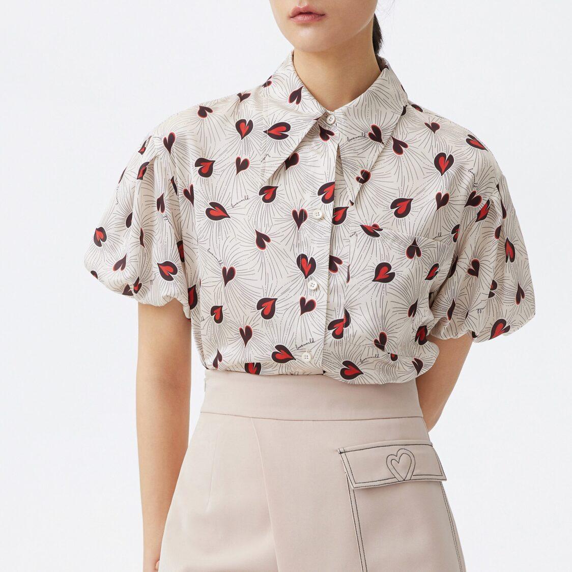 Lily Bubble Sleeve Love Shirt Light Camel