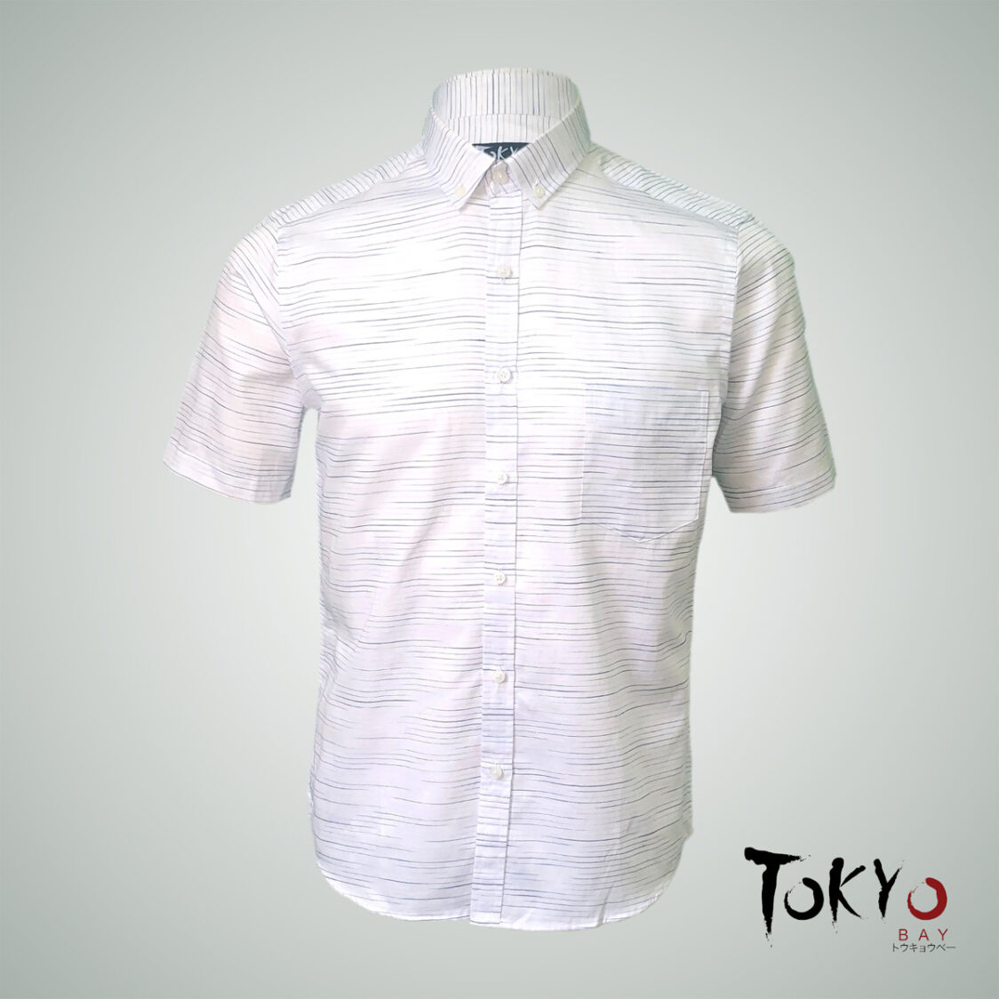 Tokyo Bay White Horizontal Striped Short Sleeve Shirt