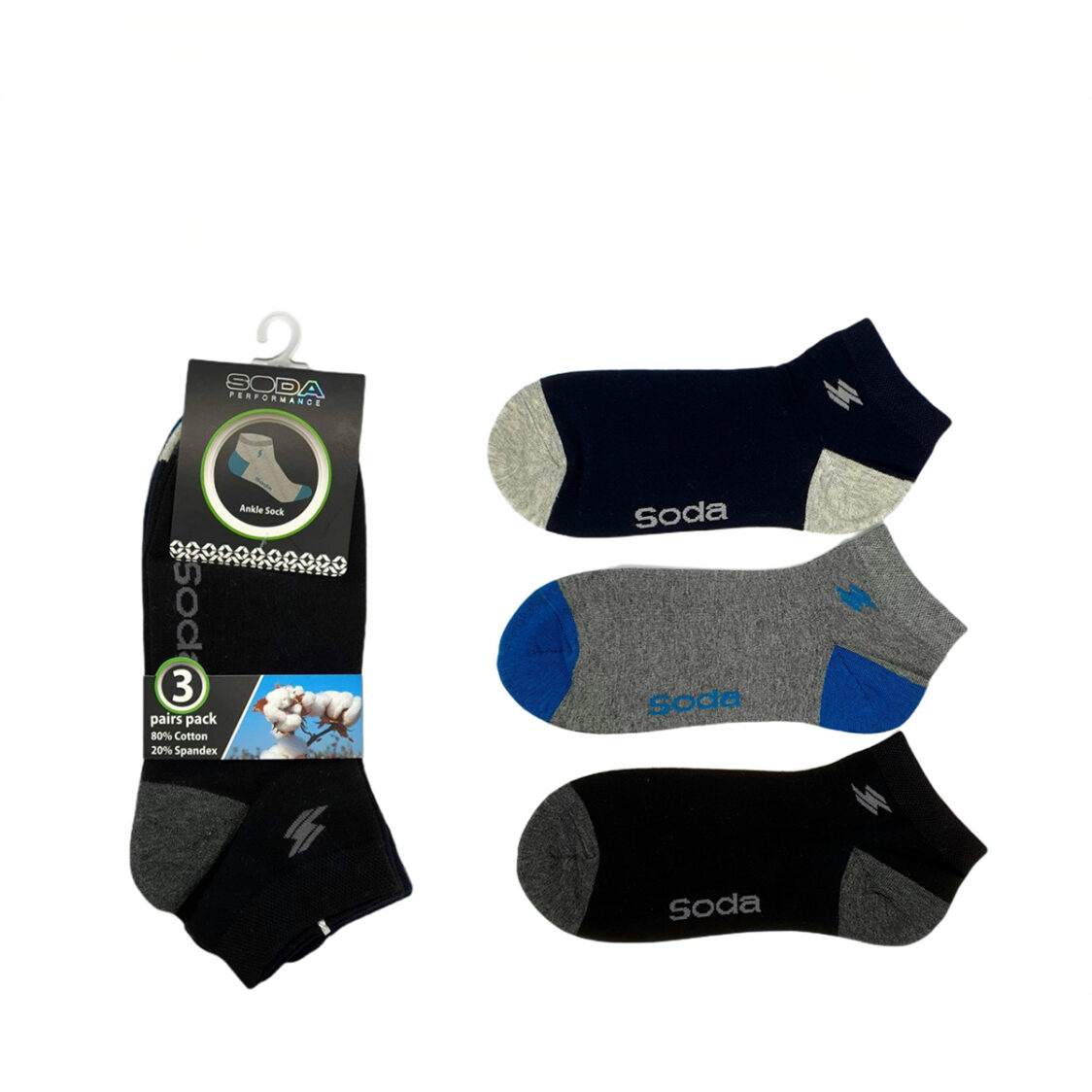 Soda 3 pc Pack Ankle Casual Socks