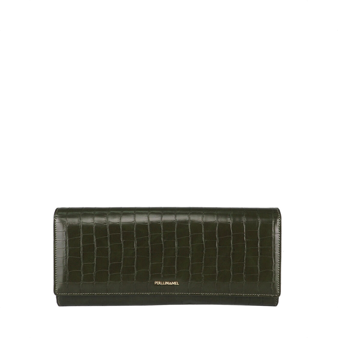 Perllini  Mel Croc Effect Chain Clutch Sling Bag Khaki PF3360C-Kaki