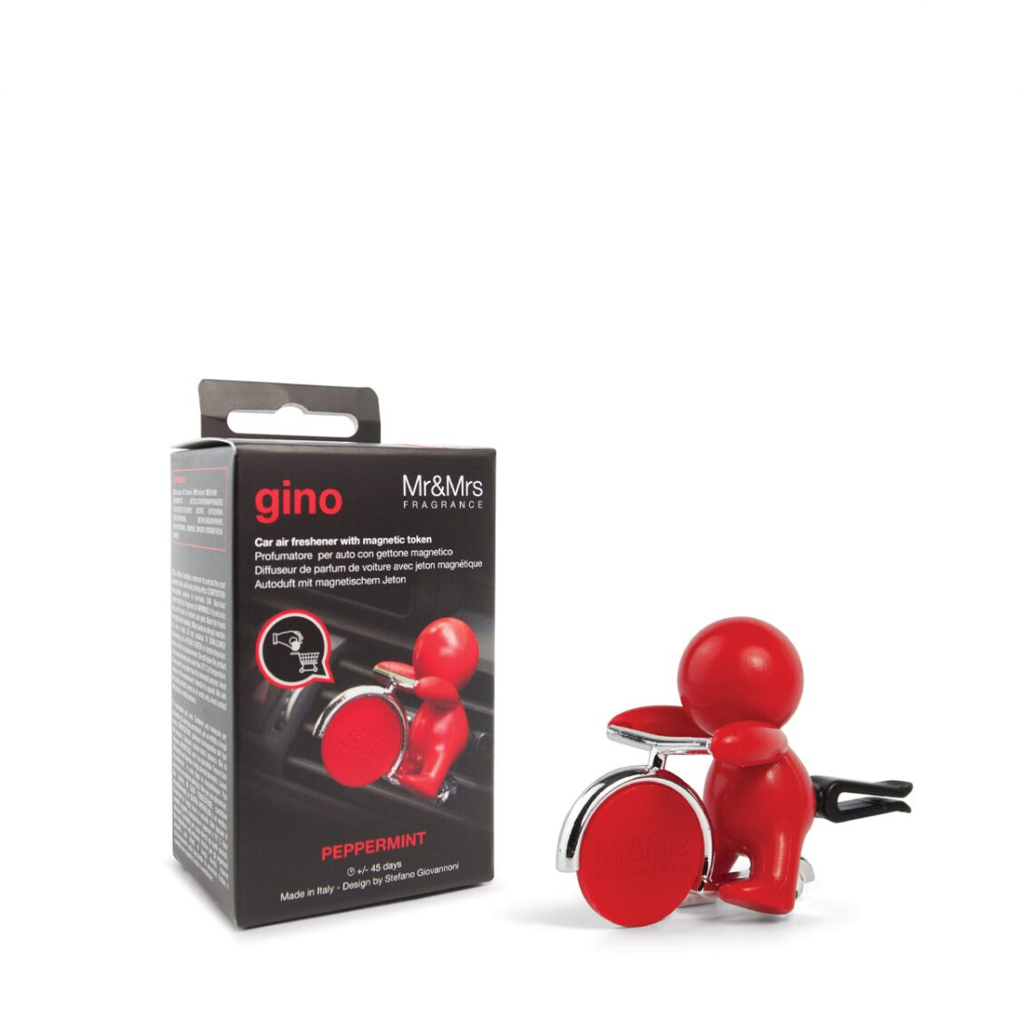 Mr  Mrs Fragrance Gino Car Red Peppermint With Token In Box 20g