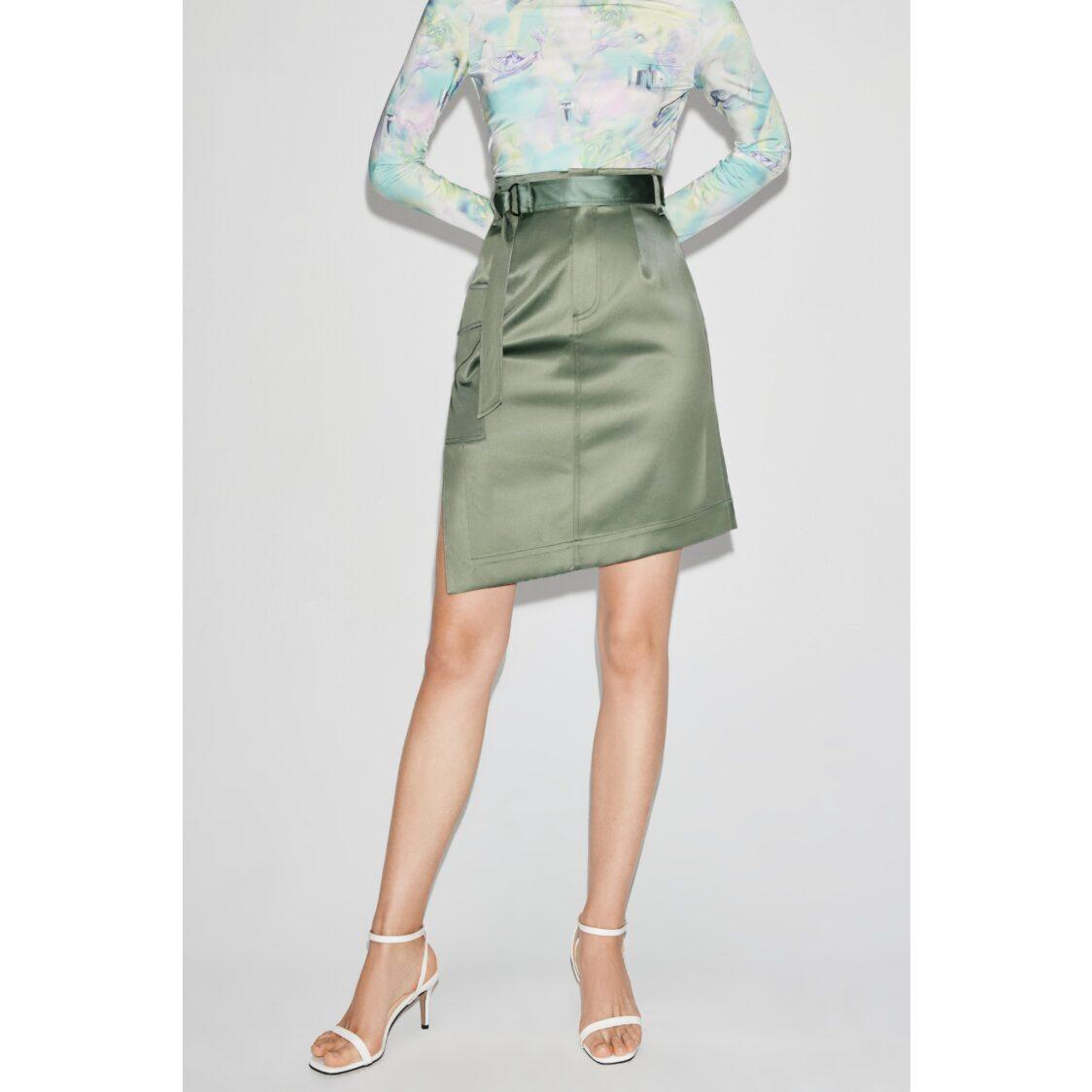 Lily Satin Asymmetric Skirt Sea Pine Green