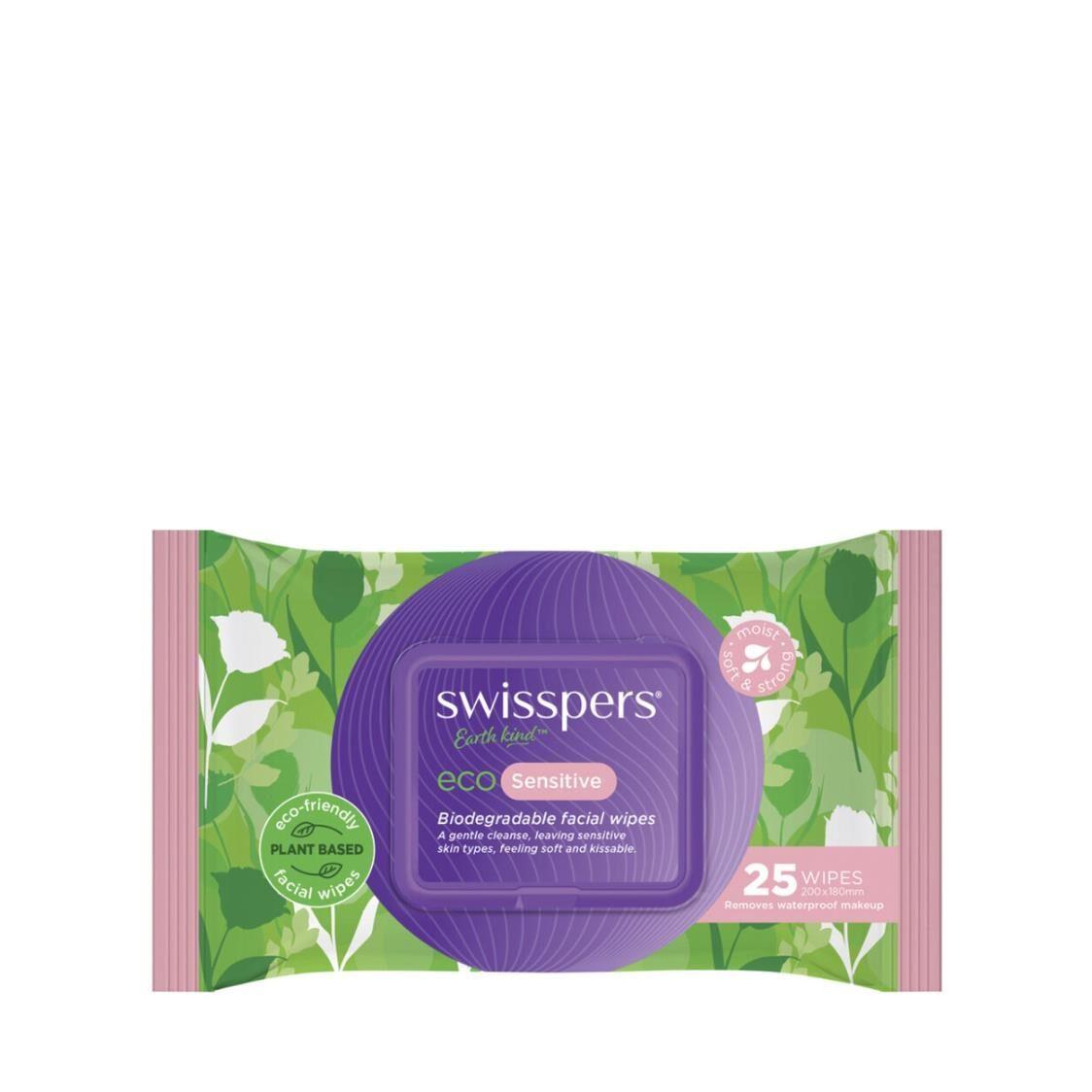 Swisspers Eco Sensitive Biodegradable Facial Wipes 25s