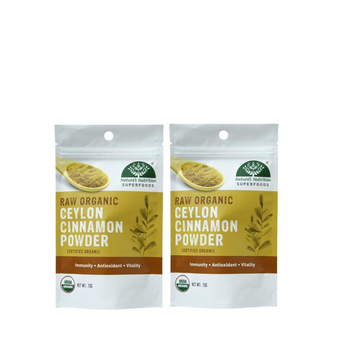 Natures Nutrition Organic Ceylon Cinnamon Powder 70g Bundle of 2
