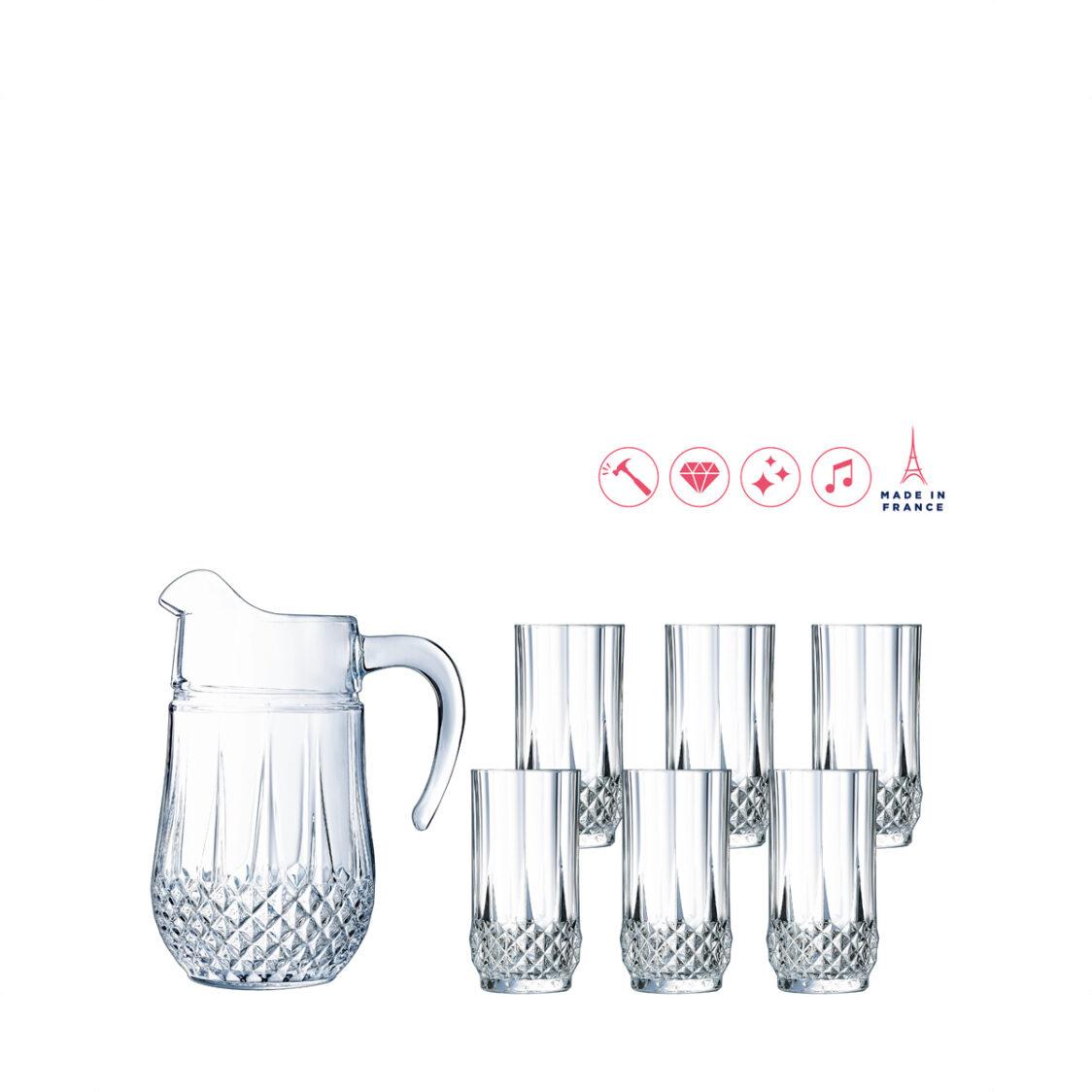 Arcopal Cristal D Arques Longchamp 7pc Water Set