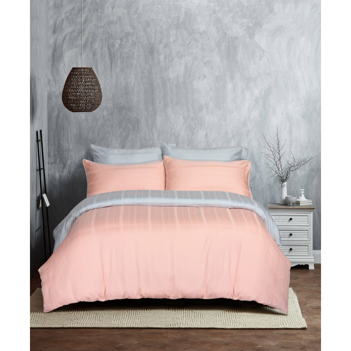 Eurotex Mod Living 1000TC 100 Tencel Dobby Bed Set- Kane PeachSilver