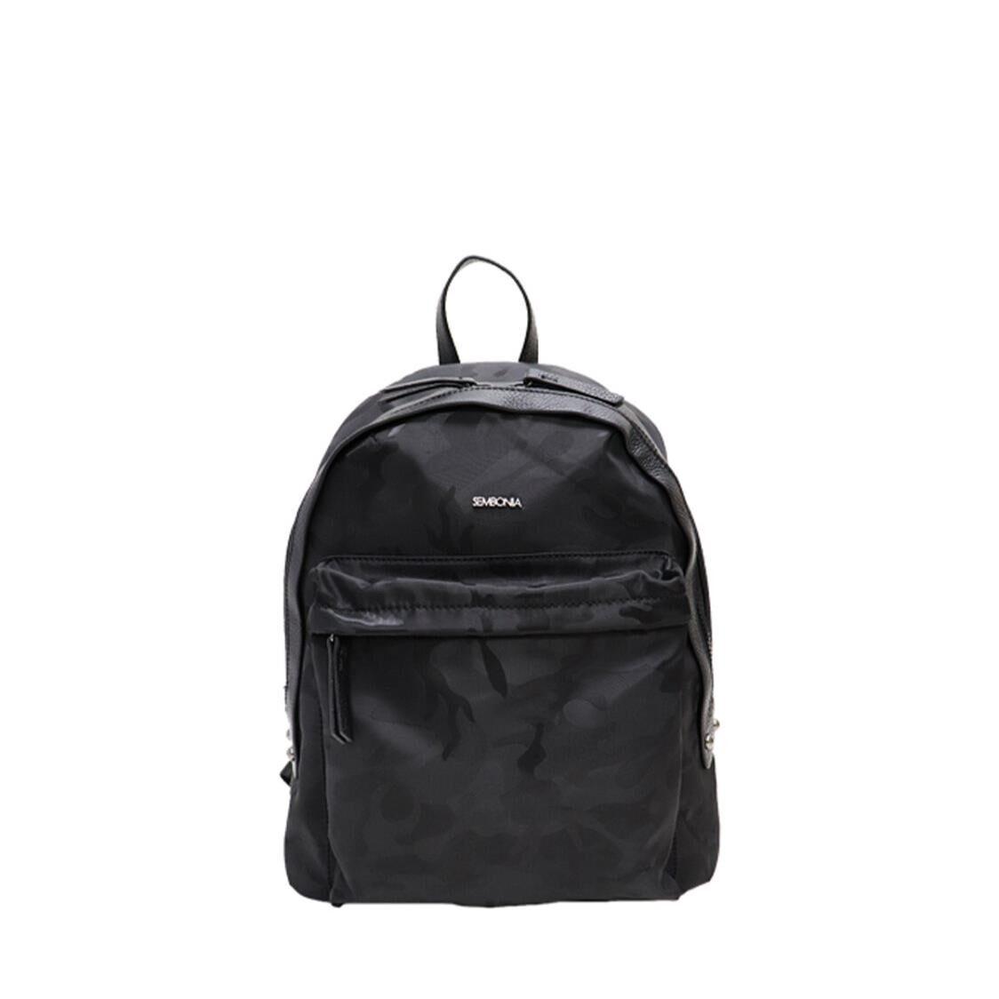 Sembonia Nylon Trim Leather Backpack Black 62351-123-08