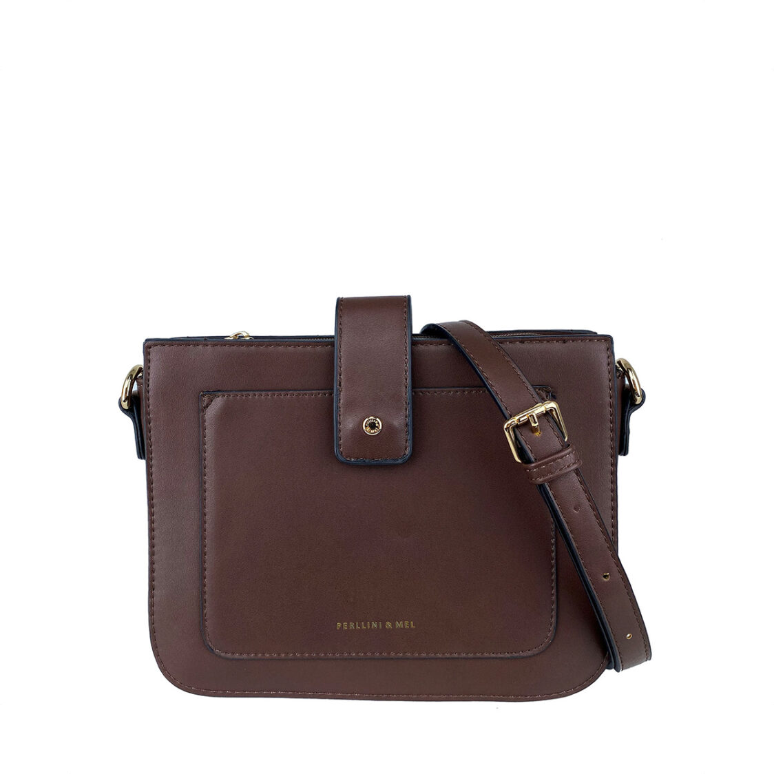 Perllini  Mel Sling Bag With Front Slot Pocket Dark Brown PF3701-DK B