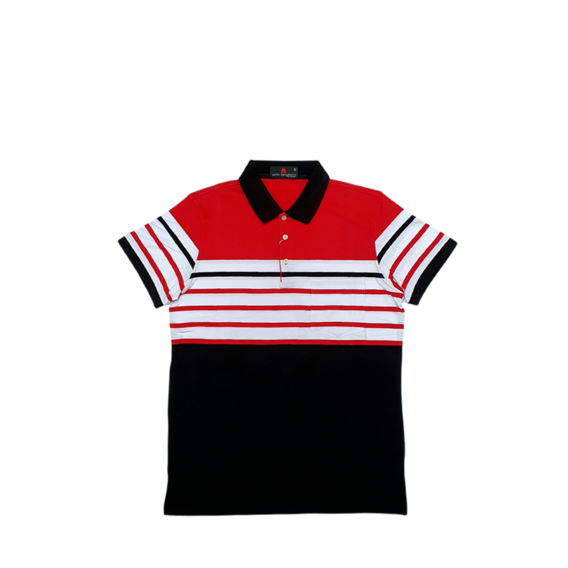 John Langford Stretchable Striped Polo T-Shirt with Pocket Red