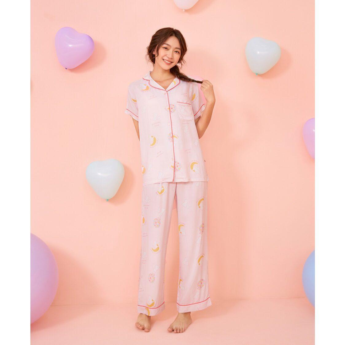 Young Hearts Dreaming Rabbit Pajama Set Pink Y19-00686K